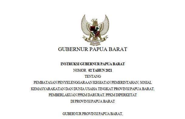 Instruksi Gubernur Papua Barat Tentang PPKM Darurat