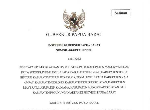 PPKM Papua Barat Diperpanjang Sampai 31 Juli