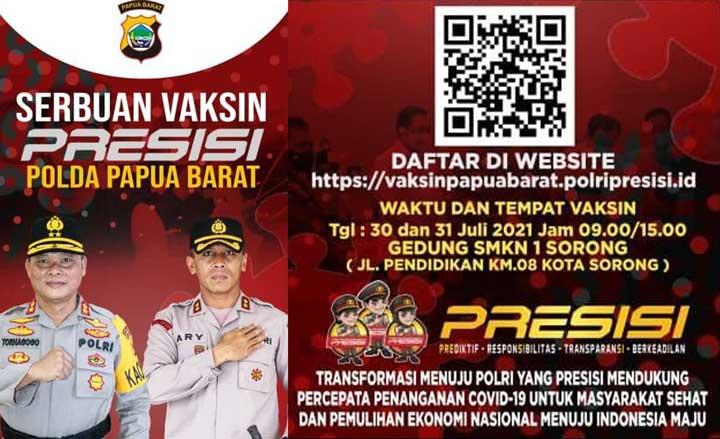 Yuk Vaksinasi Covid-19 Gratis Polda Papua Barat di Kota Sorong