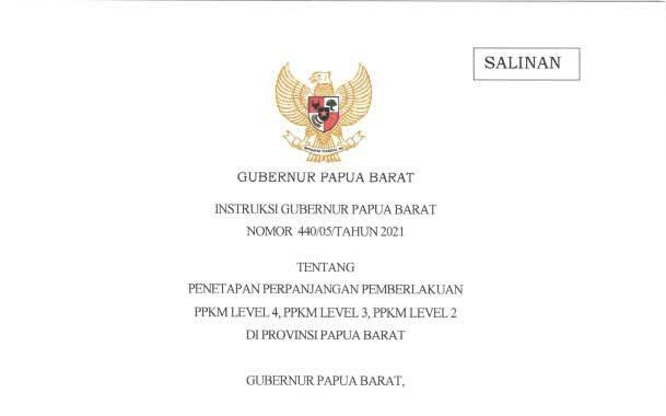 PPKM Level IV, III, dan II Papua Barat Diperpanjang Sampai 09 Agustus 2021