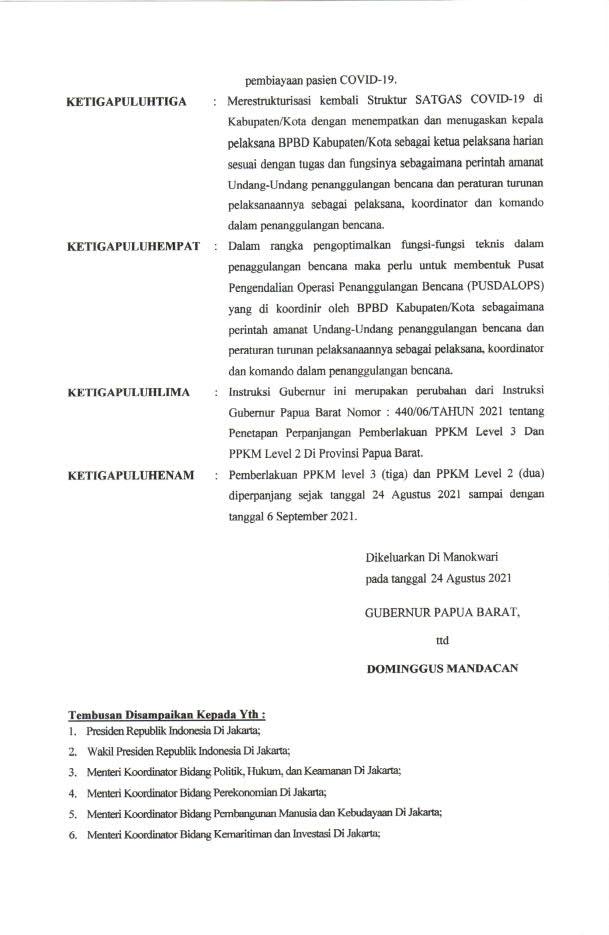 PPKM Papua Barat Diperpanjang Sampai 06 September 2021