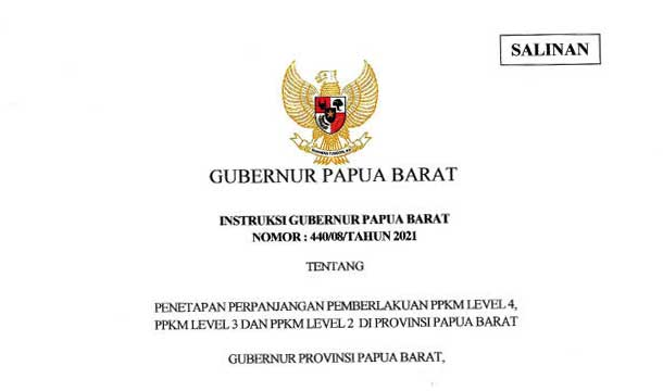 PPKM Papua Barat Diperpanjang Sampai 20 September, 1 Level 4, 9 Level 2, 2 Level 3