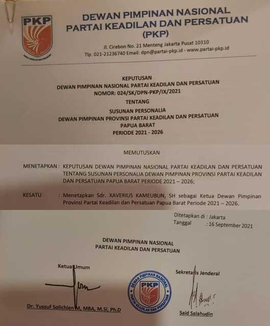 Xaverius Kameubun Jadi Ketua PKP Papua Barat