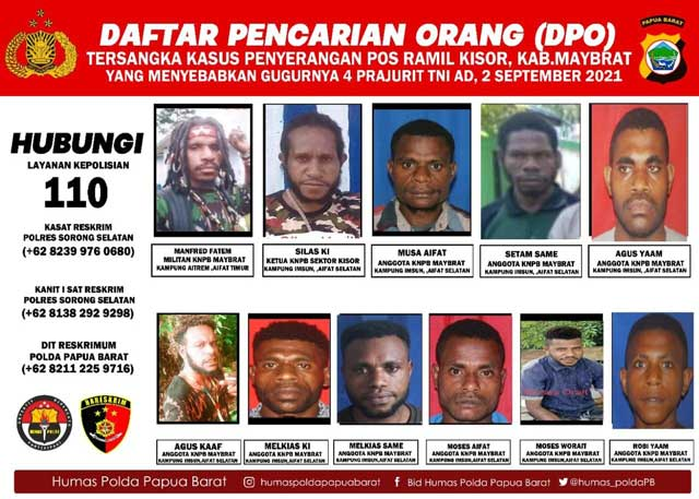 Polda Papua Barat Sebar Foto DPO Penyerangan Posramil Kisor