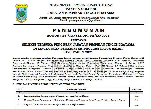 Pemprov Papua Barat Seleksi Tiga Jabatan Eselon IIa