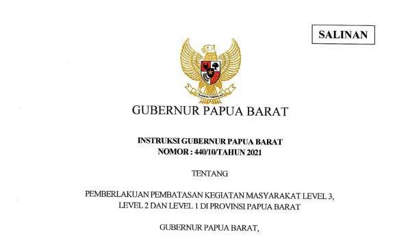 Raja Ampat, Kaimana, Tambrauw, Maybrat, Mansel PPKM Level 1