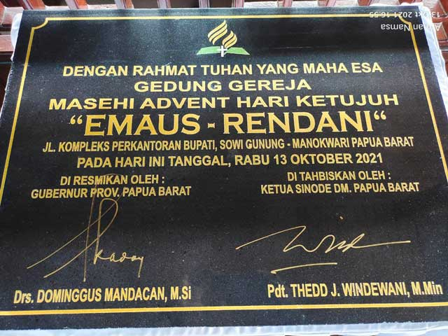 Resmikan GMAHK Emaus Rendani, Gubernur Ingatkan Selalu Jadi Berkat